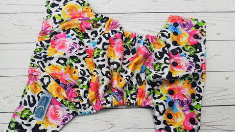 Bright Leopard Bouquet WITH Ruffle Snaps (black awj & snaps) <br>Performance Knit Traditional, One Size Pocket Diaper<br>Instock and Ready to Ship