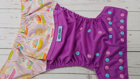 Easter Basket  Bunny EXCLUSIVE (violet pul, light pink awj, multi snaps; seasSize Pocket Diappray, light pink alternating) <br>PK Wrap Around, One Size<br>Instock and Ready to Ship