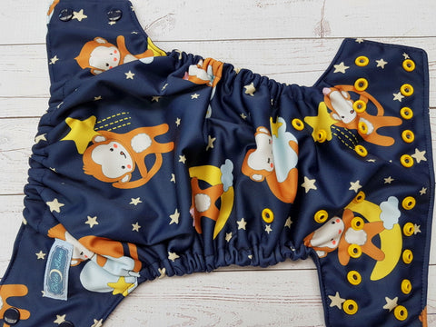 Star Monkey (navy awj, two toned snaps; navy caps, marigold pieces) <br>Performance Knit Traditional, One Size Pocket Diaper<br>Instock and Ready to Ship