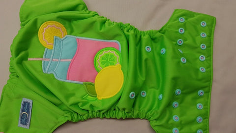 COVER- Sweet Lemonade (spring green outer, spring green inner, two toned snaps; light pink caps, seaspray pieces) 6.15 <br>Embroidered, One Size Cover<br>Instock and Ready to Ship