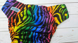 Wild Spectum WITH Ruffle Snaps(black awj, Multi snaps; violet, royal, apple, marigold, orange) <br>Traditional, One Size Pocket Diaper<br>Instock and Ready to Ship