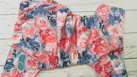 Newborn Samantha Rose (light pink awj & snaps) <br>Traditional Size One Pocket Diaper<br>Instock and Ready to Ship