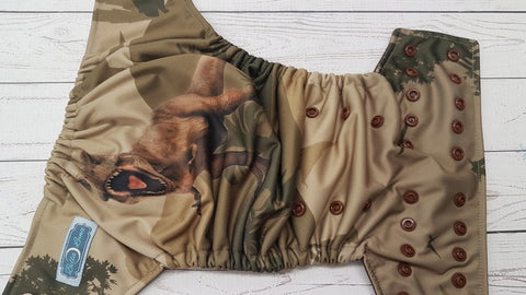 Tyrannosaurus (brown awj & snaps) 4.13 <br>Performance Knit Traditional, One Size Pocket Diaper<br>Instock and Ready to Ship