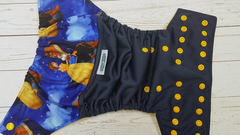 Belle & Beast (navy pul, citron awj, marigold) <br>Wrap Around, One Size Pocket Diaper<br>Instock and Ready to Ship