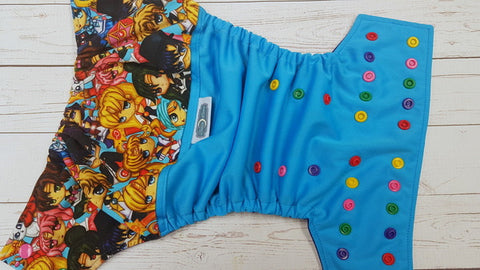 Moon Gang (aqua pul, imperial awj, multi snaps; red, imperial, kelly, hot pink, marigold alternating) <br>Wrap Around, One Size Pocket Diaper<br>Instock and Ready to Ship