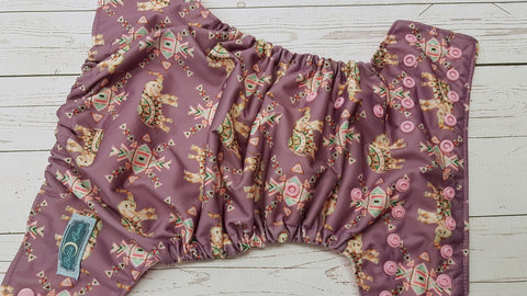Fancy Elephants (light pink awj & snaps) 6.8 <br>Traditional, One Size Pocket Diaper<br>Instock and Ready to Ship