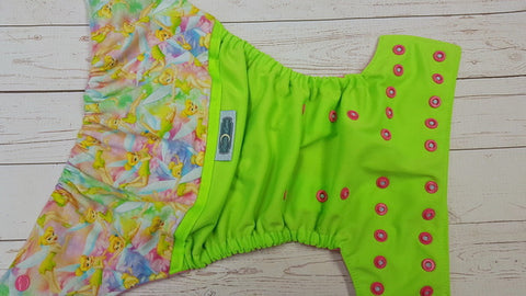 Tink Fairy (neon green pul, raspberry awj, two toned snaps; seaspray caps, hot pink pieces) <br>Wrap Around, One Size Pocket Diaper<br>Instock and Ready to Ship