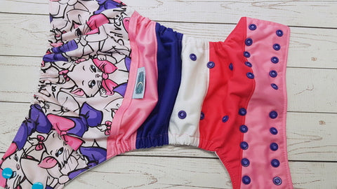 Chic Cat (white awj, two toned snaps; lavender caps, imperial pieces) <br>Boutique Scrappy, One Size Pocket Diaper<br>Instock and Ready to Ship