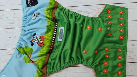 Laughing Dog (kelly pul, orange awj, two toned snaps; seaspray caps, orange pieces) <br>PK Wrap Around, One Size Pocket Diaper<br>Instock and Ready to Ship