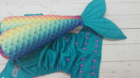 Jade Scales (jade pul, violet awj, two toned snaps; seaspray caps, violet pieces) Mermaid Tail<br>One Size Pocket Diaper<br>Instock and Ready to Ship