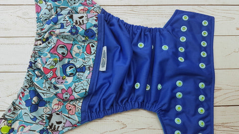 Ciao Ciao And Friends (royal pul, aqua awj, two toned snaps; apple caps, seaspray pieces) <br>Wrap Around, One Size Pocket Diaper<br>Instock and Ready to Ship