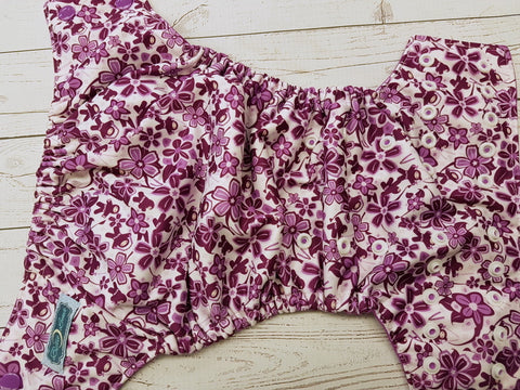 Ninja Floral (violet awj, two toned snaps; violet caps, white pieces) <br>Performance Knit Traditional, One Size Pocket Diaper<br>Instock and Ready to Ship