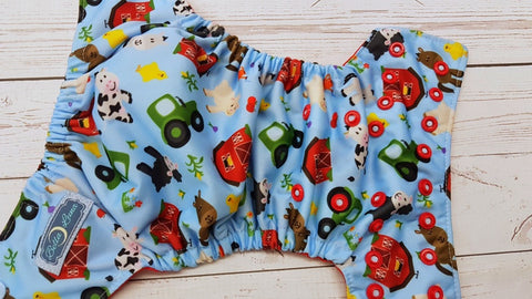 NEWBORN Farming (red awj, two toned snaps; light blue caps, red pieces) 6.1 <br>Traditional Size 1 Pocket Diaper<br>Instock and Ready to Ship