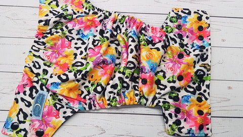 Bright Leopard Bouquet  (black awj & snaps) <br>Performance Knit Traditional, One Size Pocket Diaper<br>Instock and Ready to Ship