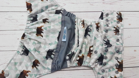 Geometric Bear (white awj, silver snaps) <br>Half & Half, One Size Pocket Diaper<br>Instock and Ready to Ship