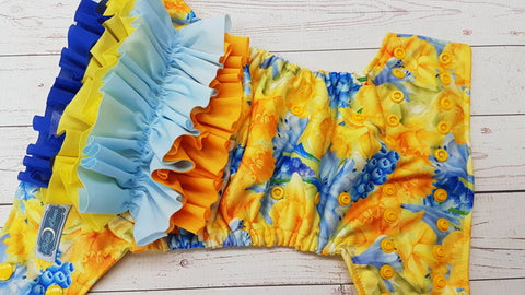 Daffodil Delight WITH Coordinating Ruffle EXCLUSIVE (citron awj, marigold snaps) <br>Performance Knit Traditional, One Size Pocket Diaper<br>Instock and Ready to Ship
