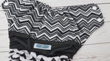 Chevron Mash Up (black awj, two toned snaps; white caps, black pieces) <br>Half & Half, One Size Pocket Diaper<br>Instock and Ready to Ship