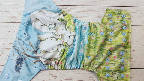 Elephant Showers EXCLUSIVE (light blue awj & snaps) <br>Performance Knit Traditional, One Size Pocket Diaper<br>Instock and Ready to Ship