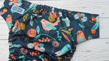 Song Bird (seaspray awj, two toned snaps; orange caps, light blue pieces) <br>Performance Knit Traditional, One Size Pocket Diaper<br>Instock and Ready to Ship