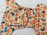 Woodland Friends (orange awj & snaps) <br>Traditional, One Size Pocket Diaper<br>Instock and Ready to Ship