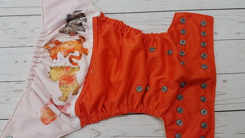 Watercolor Pooh Bear & Friends (wild tomato pul, butter awj, silver snaps) <br>PK Wrap Around, One Size Pocket Diaper<br>Instock and Ready to Ship