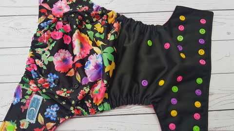 Grandma's Garden WITH Ruffle Snaps (black pul, magenta awj, multi snaps; apple, hot pink, marigold, violet) <br>Half & Half, One Size Pocket Diaper<br>Instock and Ready to Ship