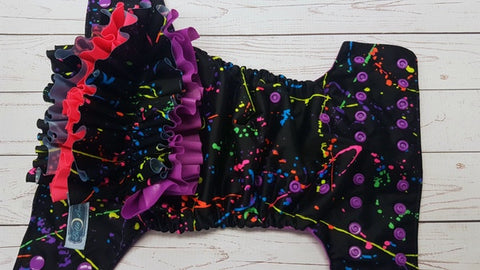 Neon Paint Splatter WITH Coordinating Ruffle (violet awj & snaps) <br>Traditional, One Size Pocket Diaper<br>Instock and Ready to Ship