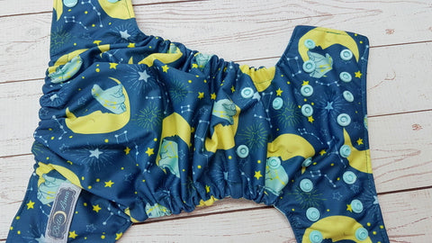 NEWBORN Ursa (seaspray awj & snaps) <br>Traditional Size One Pocket Diaper<br>Instock and Ready to Ship