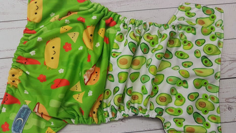 Taco Treat (brown awj, two toned snaps; brown caps, apple pieces) <br>Performance Knit Traditional, One Size Pocket Diaper<br>Instock and Ready to Ship
