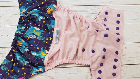 Prancing Unicorns (light pink pul, imperial awj & snaps) <br>Wrap Around, One Size Pocket Diaper<br>Instock and Ready to Ship