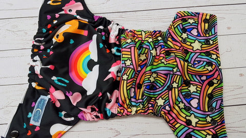 Uncorns & Rainbows (black awj & snaps) <br>Performance Knit Traditional, One Size Pocket Diaper<br>Instock and Ready to Ship