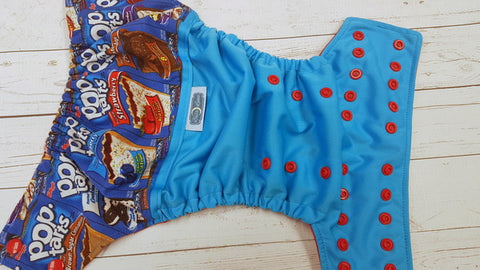 Tasty Treat (aqua pul, red awj & snaps) <br>Wrap Around, One Size Pocket Diaper<br>Instock and Ready to Ship