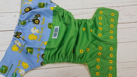 Duck, Duck, Tractor (kelly pul, citron  awj, two toned snaps; kelly caps, marigold pieces) <br>Wrap Around, One Size Pocket Diaper<br>Instock and Ready to Ship