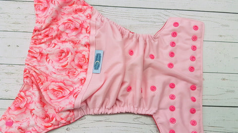 Cotton Candy Roses (light pink pul, magenta awj, hot pink snaps)<br>Wrap Around, One Size Pocket Diaper<br>Instock and Ready to Ship