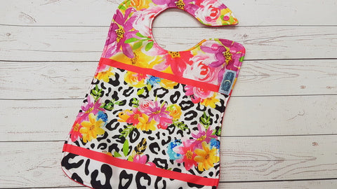Floral Leopard <br>Boutique Bib<br>Instock and ready to ship