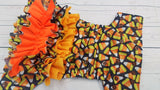 Cover- Candy Corn (brown inner pul & snaps) WITH Designer PUL Ruffles<br>Traditional, One Size Diaper<br>Instock and Ready to Ship