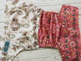 Antler Roses (butter awj, silver snaps) <br>Performance Knit Traditional, One Size Pocket Diaper<br>Instock and Ready to Ship