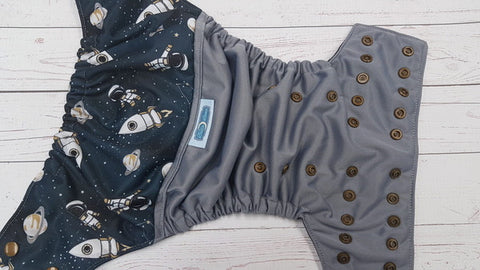 Space Patrol (gray pul, black awj, bronze snaps) <br>Wrap Around, One Size Pocket Diaper<br>Instock and Ready to Ship