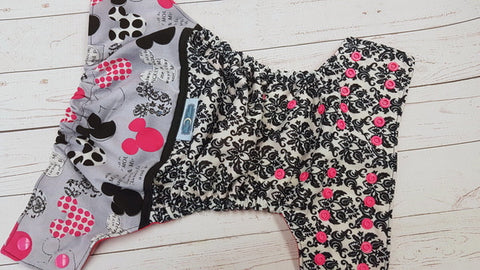 Mouse Damask (magenta awj, hot pink snaps) <br>Printed PUL Wrap Around, One Size Pocket Diaper<br>Instock and Ready to Ship