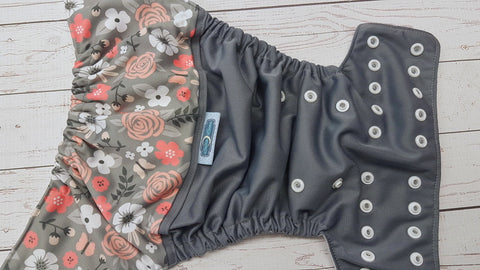 Floral On Coral (gray pul, white awj, two toned snaps; silver caps, white pieces) <br>PK Wrap Around, One Size Pocket Diaper<br>Instock and Ready to Ship