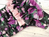Violet Bouquet WITH Coordinating Ruffle (violet awj, two toned snaps; light pink caps, violet pieces) <br>Traditional, One Size Pocket Diaper<br>Instock and Ready to Ship