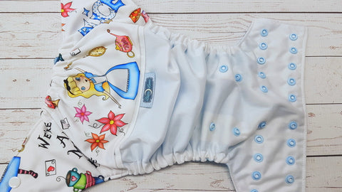 Time For Tea (white pul, light blue awj, two toned snaps; white caps, light blue pieces) <br>PK Wrap Around, One Size Pocket Diaper<br>Instock and Ready to Ship