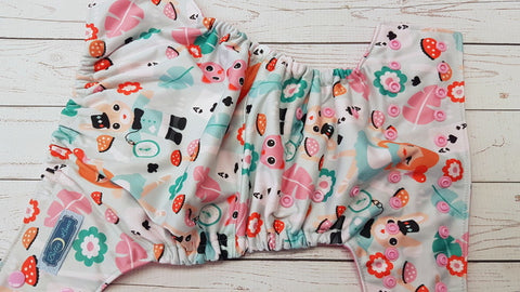 Tea Time (raspberry awj, light pink snaps) <br>Performance Knit Traditional, One Size Pocket Diaper<br>Instock and Ready to Ship