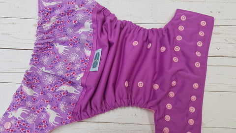 Pretty Little Unicorn (violet pul, raspberry awj, light pink snaps) <br>Wrap Around, One Size Pocket Diaper<br>Instock and Ready to Ship