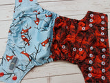 Rose Bush Cardinal (black awj, two toned snaps; red caps, light blue pieces) <br>Performance Knit Traditional, One Size Pocket Diaper<br>Instock and Ready to Ship