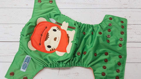 Star Bear (kelly pul, orange awj, brown snaps) <br>Embroidered, One Size Pocket Diaper<br>Instock and Ready to Ship