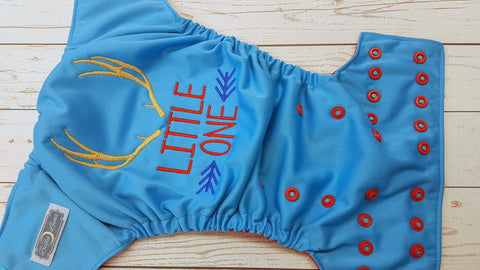 Little One (aqua pul, red awj, two toned snaps; aqua caps, red pieces) <br>Embroidered, One Size Pocket Diaper<br>Instock and Ready to Ship
