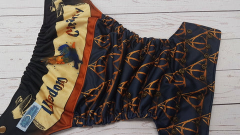 Wisdom & Creativity (navy awj, bronze snaps) <br>Performance Knit Traditional, One Size Pocket Diaper<br>Instock and Ready to Ship
