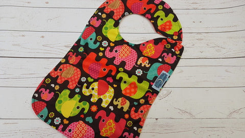 Magenta Elephant Toss, Waterproof Boutique Bib <br>Instock and ready to ship