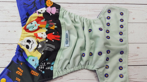 Skelington Famiy (mint pul, imperial awj, two toned snaps; marigold caps, imperial pieces) <br>PK Wrap Around, One Size Pocket Diaper<br>Instock and Ready to Ship